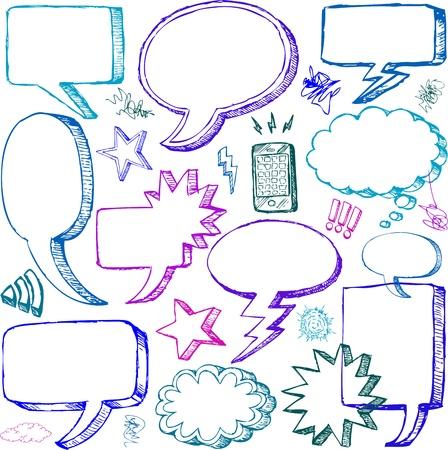 creative arts: Set of Hand drawn vector Comical Speech Bubbles Illustration