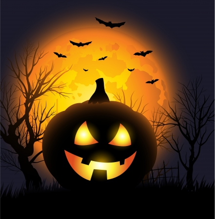 scary forest: Scary Jack o lantern face Halloween background Illustration