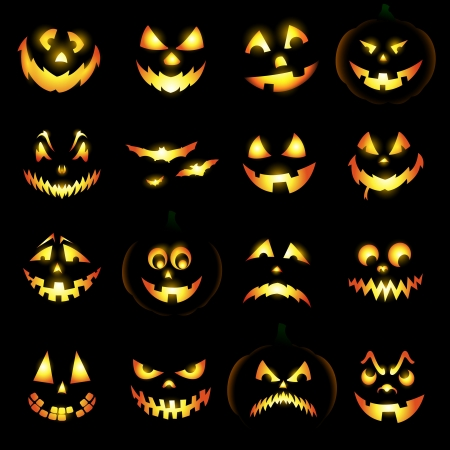 halloween pumpkins: Jack o lantern pumpkin faces glowing on black background Illustration