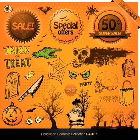 Halloween elements collection vector illustration design set Vector