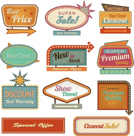 vegas sign: Retro banner sign and ad Vector illustration