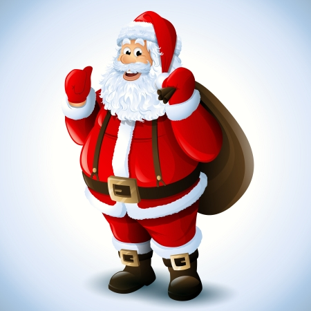 digitally generated image: Cartoon Santa Claus smiling red christmas background