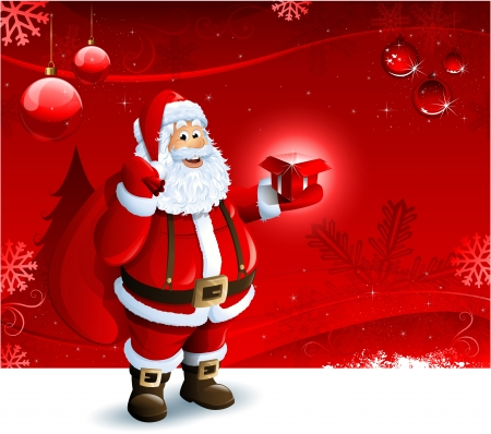 christmas background: Santa Claus holding a gift box on red Christmas ornament background Illustration