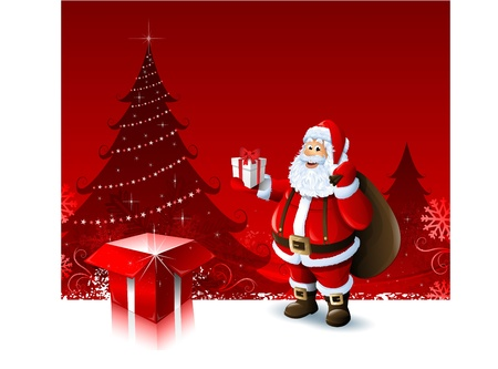 Santa Claus holding a gift box on red Christmas ornament background Vector