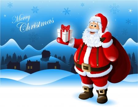 christmas snow: Santa Claus holding a gift box greeting card design Illustration