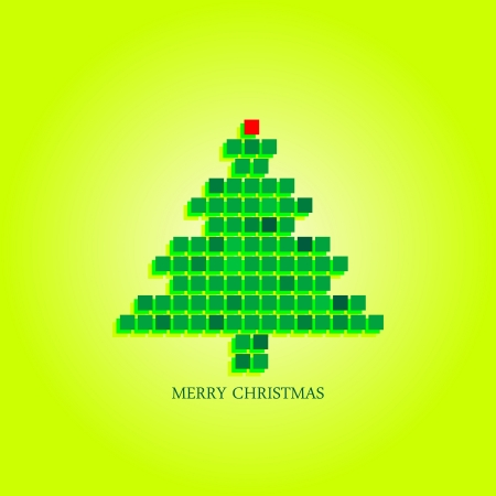 newyear: Dotted christmas tree funky greeting card design