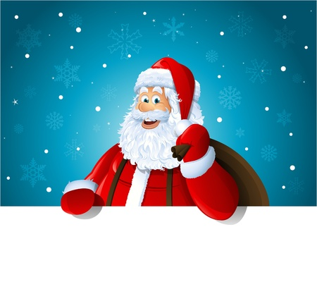 Happy Santa Claus over white blank Stock Vector - 15705910