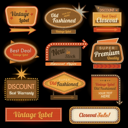 traditional pattern: Vintage retro label signs