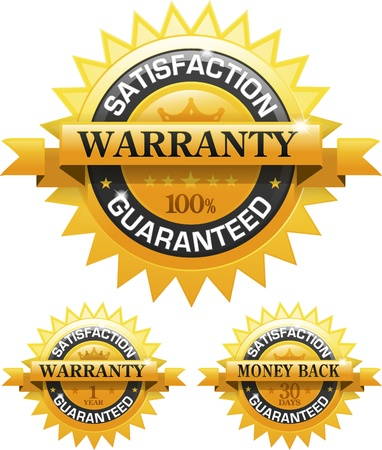 Customer satisfaction guaranteed gold badge Vector