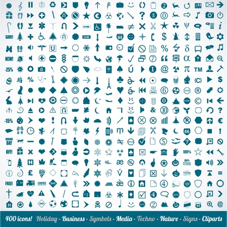 400 various icons symbols and design elements Stock Vector - 16604551