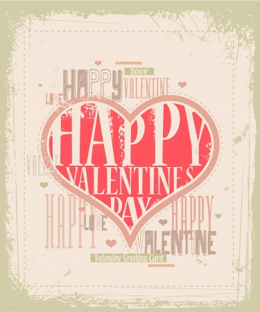 grunge background: Retro Valentine card design