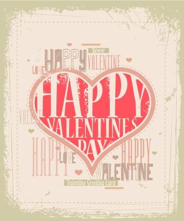 grunge: Thiết kế thiệp Valentine Retro Hình minh hoạ