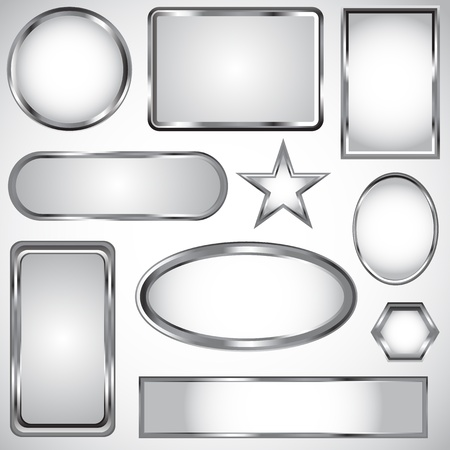 metal: Silver vector label collection