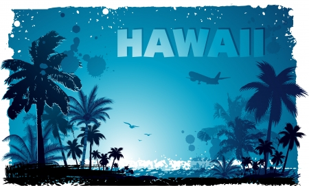 beach palm: Tropical hawaiian background Illustration