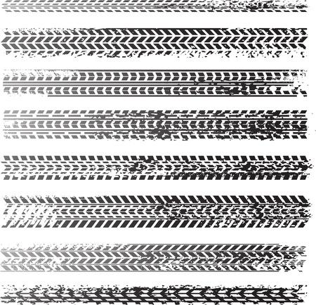 traces pneus: Traces de pneus sales Illustration