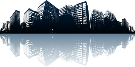 night and day: City skyline Illustration