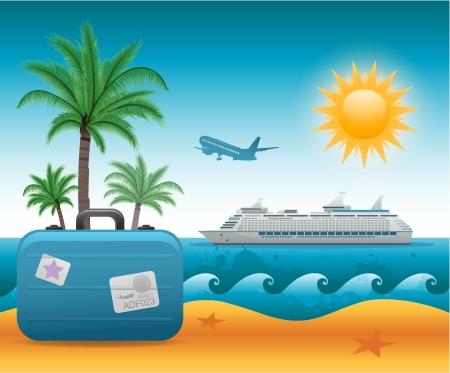 bateau: Fond de vacances d'été plage Illustration