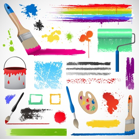 Painting and paint splats elements Stock Photo - 17450424