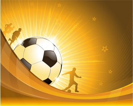 soccer: Gold soccer background illustration