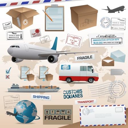 送料: 流通および出荷の要素  イラスト・ベクター素材