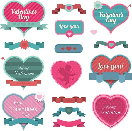 Valentine heart shaped decoration and ribbons Stock Vector - 17547495