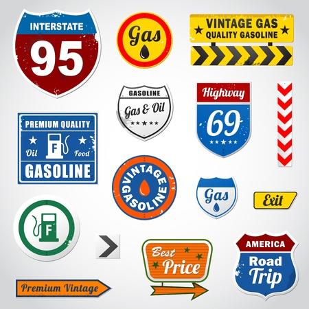 Set of vintage gasoline retro signs and labels 일러스트
