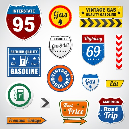 Set of vintage gasoline retro signs and labels Illustration
