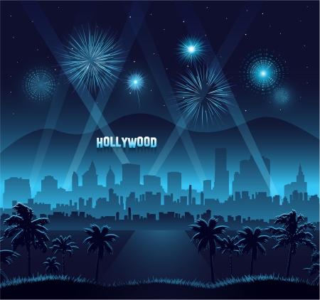 첫날: 할리우드 영화 시사회 배경 축하