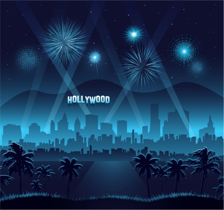 fame: Hollywood movie premiere background celebration Illustration