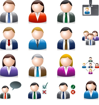 Business people avatar isolato su bianco Vettoriali