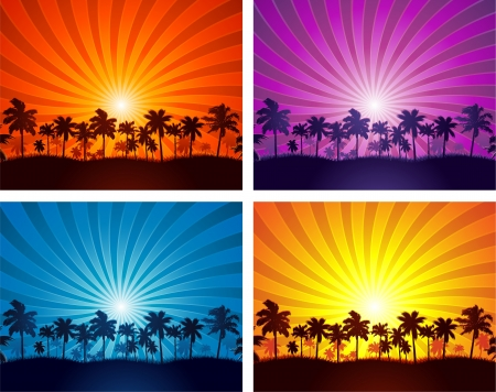 Tropical summer sunset palm tree silhouettes Stock Vector - 17862056