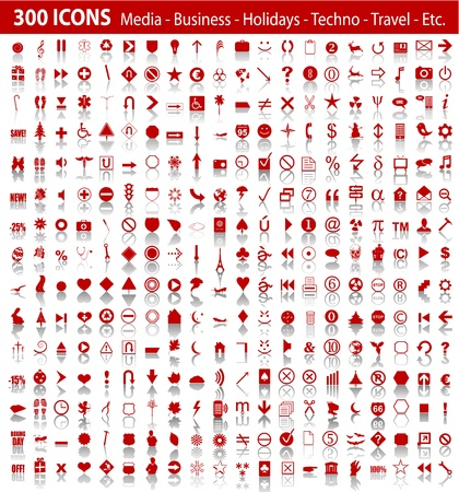 universal:  red 300 universal web icons set with shadow Illustration