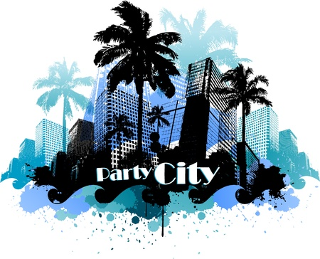 summer break: Tropical urban party city background