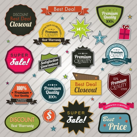 Ventas pegatinas etiquetas de precios y cintas Ilustración de vector