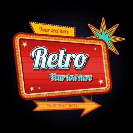 reise retro: Retro Motel Schild mit copyspace Illustration