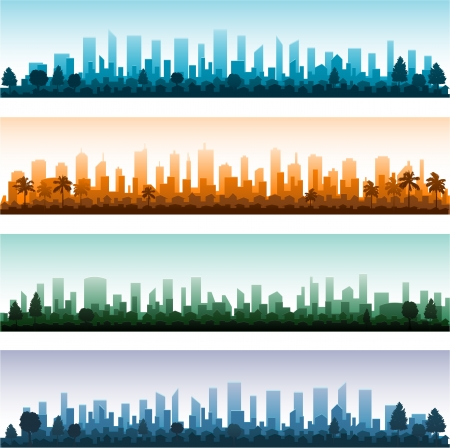 manhattan skyline: Cityscape silhouette city panoramas Illustration