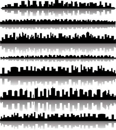 Cityscape silhouette city panoramas Stock Vector - 18537345