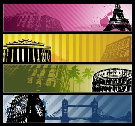 voyage: Villes en Europe bannières horizontales de voyage Illustration