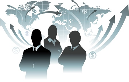 Businessman team in front of world map Stock Vector - 19019713