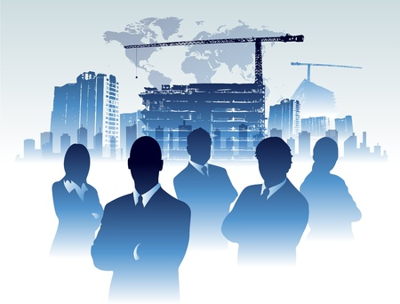 Businessman team in building office construction