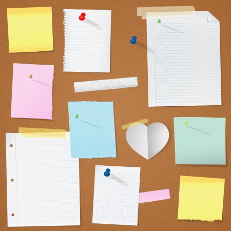 merken: Illustration Papier Notizen auf Kork Bord