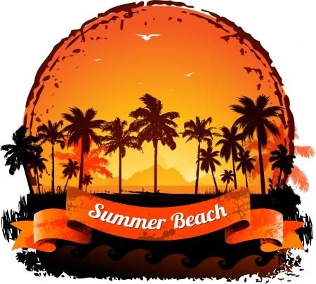 Zomervakantie tropische zonsondergang op de achtergrond Stock Illustratie
