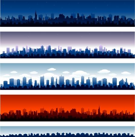 Set of vector cities silhouette Stock Vector - 19482613