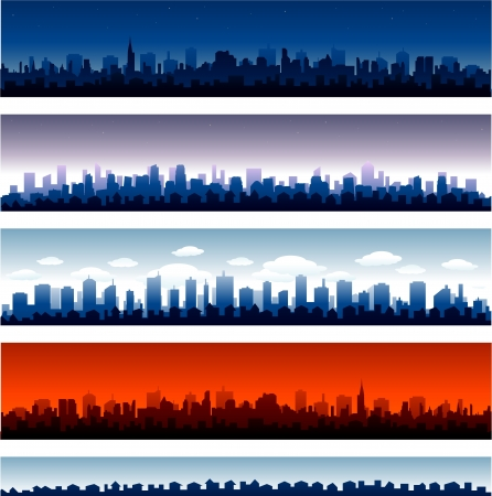 city scape: Set of vector cities silhouette Illustration