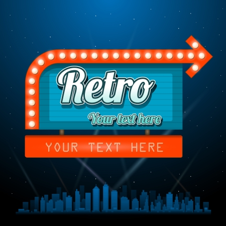neon sign: Retro motel sign with copyspace Illustration