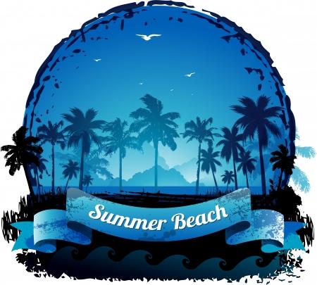 surf silhouettes: Bella blu tropicale estate vacanza sfondo Vettoriali