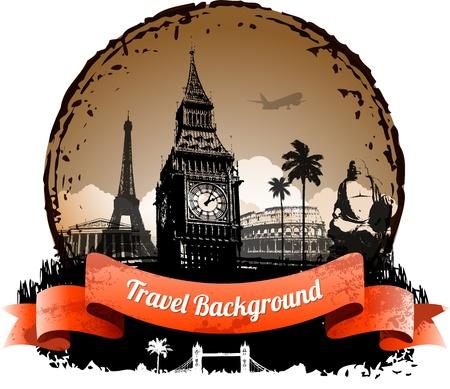 Travel background with famous landmarks elements  Stock Illustratie