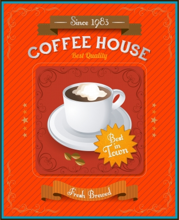 caligraphic: Vintage Coffee House card