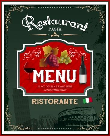 Vintage Italiaans restaurant menu en posterontwerp