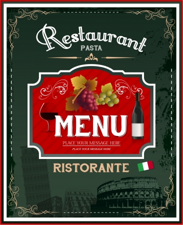 Vintage italian restaurant menu and poster design photo